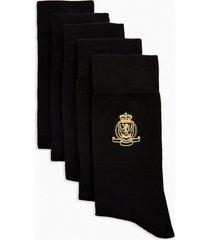 mens black crest embroidered socks 5 pack
