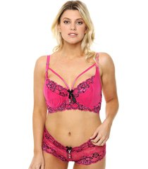 conjunto fucsia playboy broken heart plus size