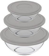 conjunto de tigelas nadir plus em vidro com tampa cinza com 3 peças