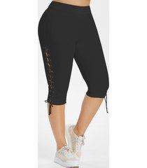 lace up side high waisted plus size capri pants