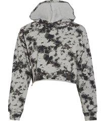 dyi women's crop after yoga hoodie - black photo tie dye x-small cotton