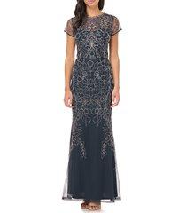 women's js collections soutache mesh evening dress, size 12 - blue