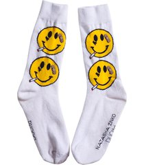 x natasha zinko smiley face smoking socks