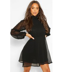 dobby mesh high neck pleat detail skater dress, black