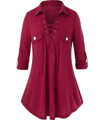 plus size lace up roll up sleeve tunic top