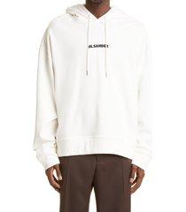 men's jil sander men's logo graphic hoodie, size x-large - ivory