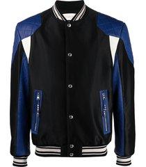 alexander mcqueen panelled bomber jacket - black