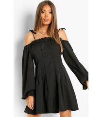 skater jurk met uitgesneden schouders en ceintuur, black