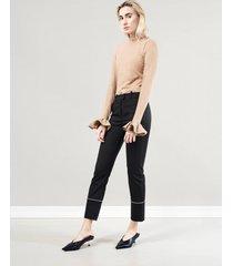 spodnie z kontrastową wypustką
