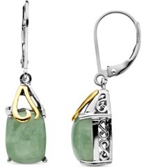 14k gold and sterling silver earrings, jade rectangle drops (6 ct. t.w.)