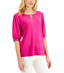 jm collection puff-sleeve solid top, created for macy's