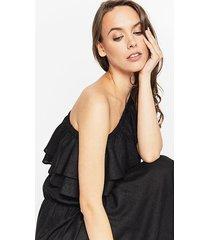 asymetryczna sukienka z tkaniny lnianej