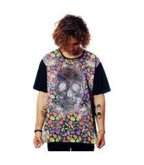 camiseta elephunk estampada caveira digital