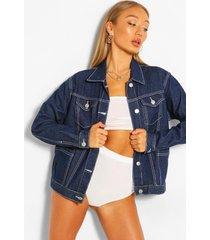 seam detail pocket jean jacket, blue