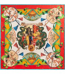 dolce & gabbana silk road-print silk-twill scarf - red