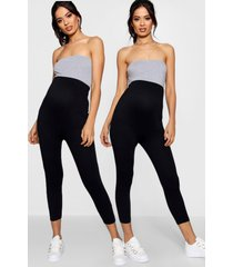 maternity 2 pack cropped over bump legging, black