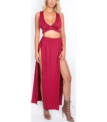 burgundy sleeveless v-neck cutout crop top and maxi slit skirt co-ord
