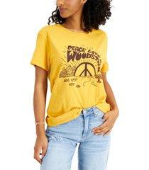 junk food women's cotton peace love woodstock t-shirt