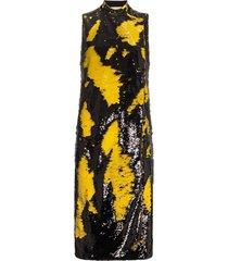 ganni sleeveless sequinned midi dress - 336 lemon