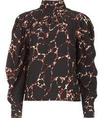blouse met print mocean  zwart