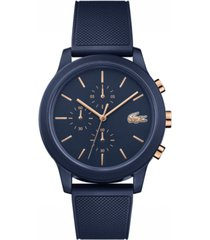 lacoste men's chronograph 12.12 blue rubber strap watch 42mm