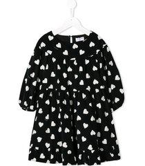 monnalisa corduroy heart-print dress - black