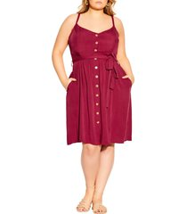 city chic date day belted dress, size large in rhubarb at nordstrom