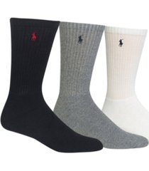 polo ralph lauren men's socks, extended size classic athletic crew 3 pack
