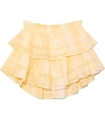 ruffle mini skirt in hand dyed lemon drop