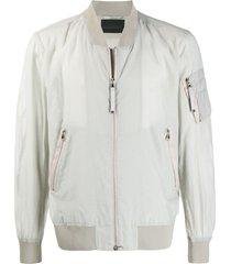 diesel black gold j-diaspro zipped bomber jacket - grey