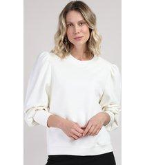 blusão de moletom feminino manga bufante off white off white