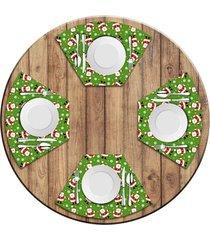 jogo americano   para mesa redonda wevans multi tocas papai noel  love decor