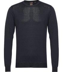 custer roundneck stickad tröja m. rund krage blå oscar jacobson
