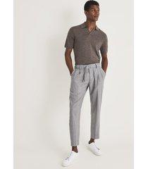 reiss duchie - merino wool open collar polo shirt in otter brown, mens, size xxl