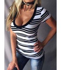 camiseta de cintura ajustada de manga corta con cuello en v a rayas