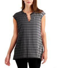 alfani petite printed split-neck high-low top, created for macy's