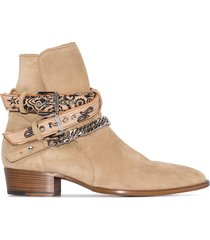 amiri bandana buckle-strap suede boots - neutrals
