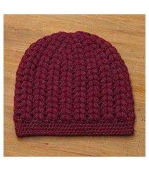 alpaca blend hat, 'bordeaux passion' (peru)