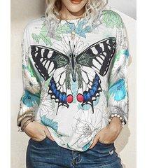 camicetta da donna con scollo a manica lunga con stampa di farfalle laeves