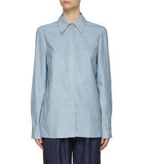 """""""cruz' point collar silk wool blend shirt"""