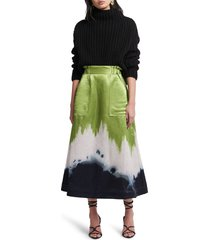 aje arcadian midi skirt, size 12 us in ombre ink at nordstrom