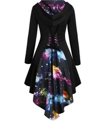 hooded lace up planet print high low dress