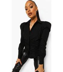 getailleerde blouse met geplooide taille