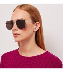 saint laurent women's slim aviator sunglasses - silver/black