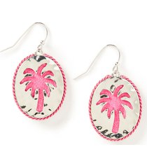 pink palm drop earrings