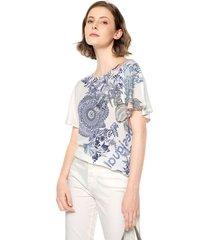 blusa blanco-azul-negro desigual