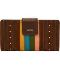 fossil women's logan stripe tab leather clutch wallet
