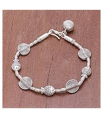 silver beaded bracelet, 'happy swimmers' (thailand)
