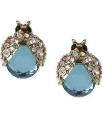 betsey johnson gold-tone blue glass crystal bug stud earrings
