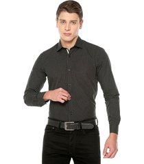 camisa manga larga masculina negra con puntos blancos pequeños los caballeros